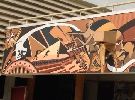 The iconic mural outside the Department of Fine Arts at the Obafemi Awolowo University where Gbolade  completed his first degree in Fine Arts.