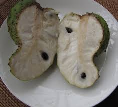 Lovely Soursop cut in half- fleshy,sweet and very,very nice.