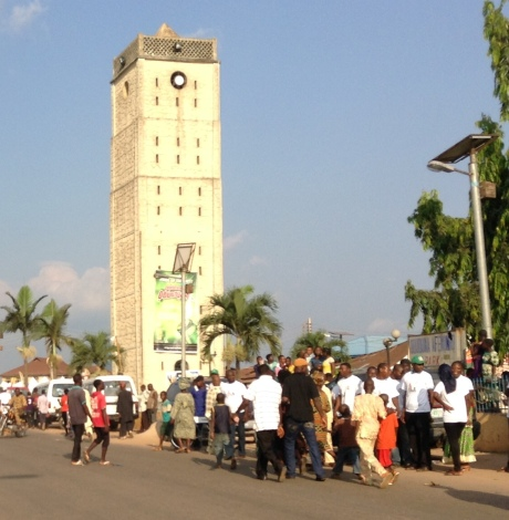 The clock Tower in Enuwa Square outside the Ooni`s palace where the celebrations take place.