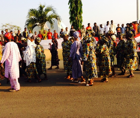 Matching outfits  was one definitive way to identify specific groups.  Its a big festial for Ile-Ife indigenes.