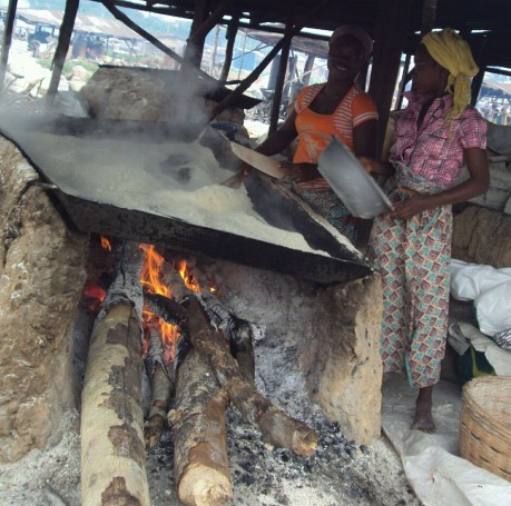 Cottage Industry making Garri in Oyo town- small industries like this feed millions of Nigerians.
